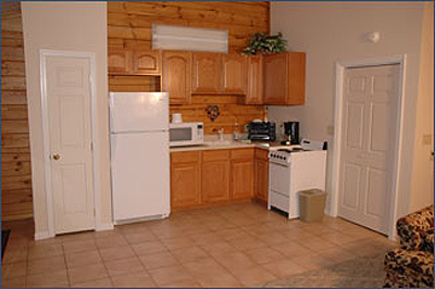 Full kitchen in studio cabin near Pigeon Forge Tennessee